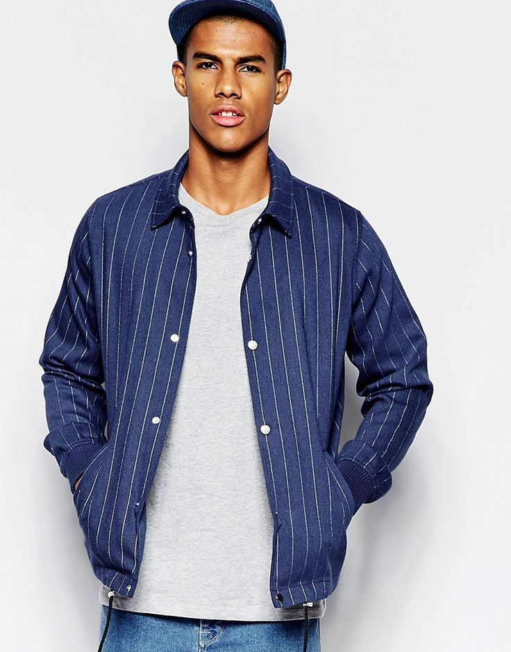 ASOS Wool Mix Pinstripe Coach Jacket In Blue