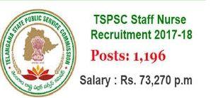 TSPSC-1196 Staff Nurse Recruitment 2017-2018 Apply Now