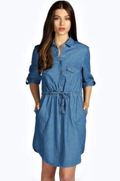 Leslyn Tie Waist Denim Shirt Dress at boohoo.com