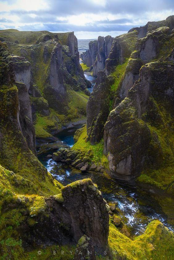 At the Fjaðrárgljúfur in Iceland.