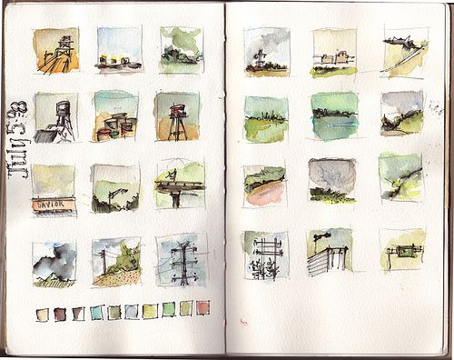 watercolor journal entry by amanda kavanagh ...small squares