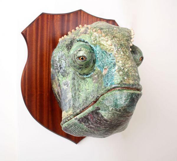 Papier mache Wild Animals and Wild Life sculpture by artist David Farrer titled: 'Chameleon (Outsize Mounted Trophy Papier Mache Head Mask sculptures)'