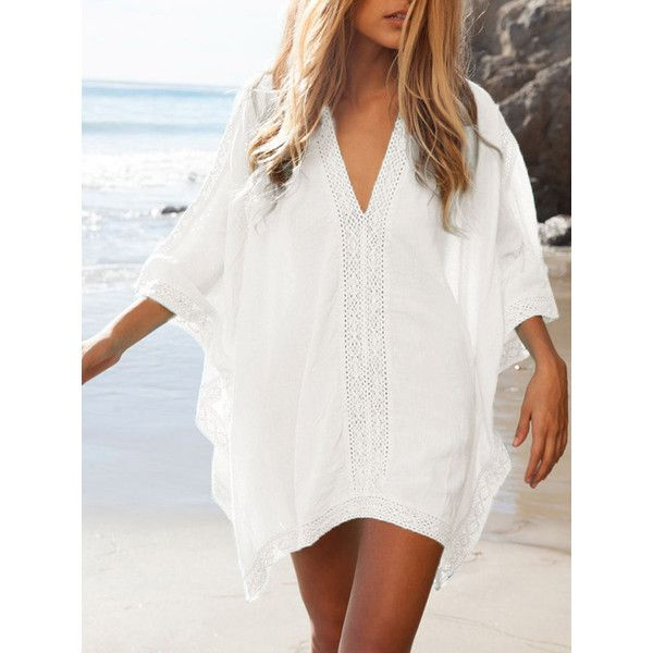 White Oversize V-neck Poncho Beach Cover Up (£22) ❤ liked on Polyvore featuring swimwear, cover-ups, white poncho, crochet beach cover-ups, crochet cover-up, white swimwear and white beach wear