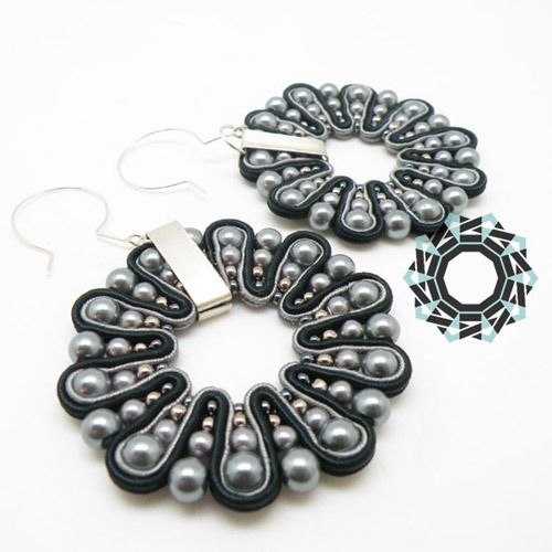 3D SOUTACHE EARRINGS - BLACK-GRAY from TENDER DECEMBER by DaWanda.com