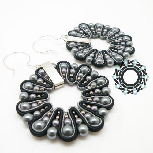 3D SOUTACHE EARRINGS - BLACK-GRAY from TENDER DECEMBER by DaWanda.com