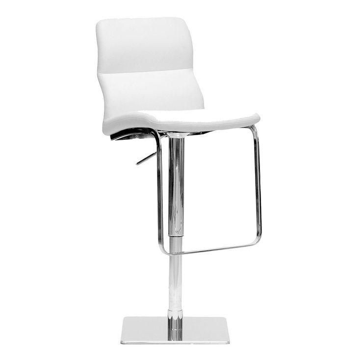 Baxton Studio Helsinki Adjustable Bar Stool, White