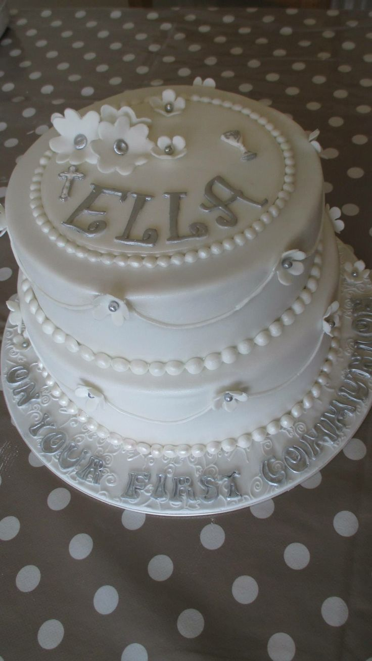 Silver And White First Communion Cake For Girls In 2019