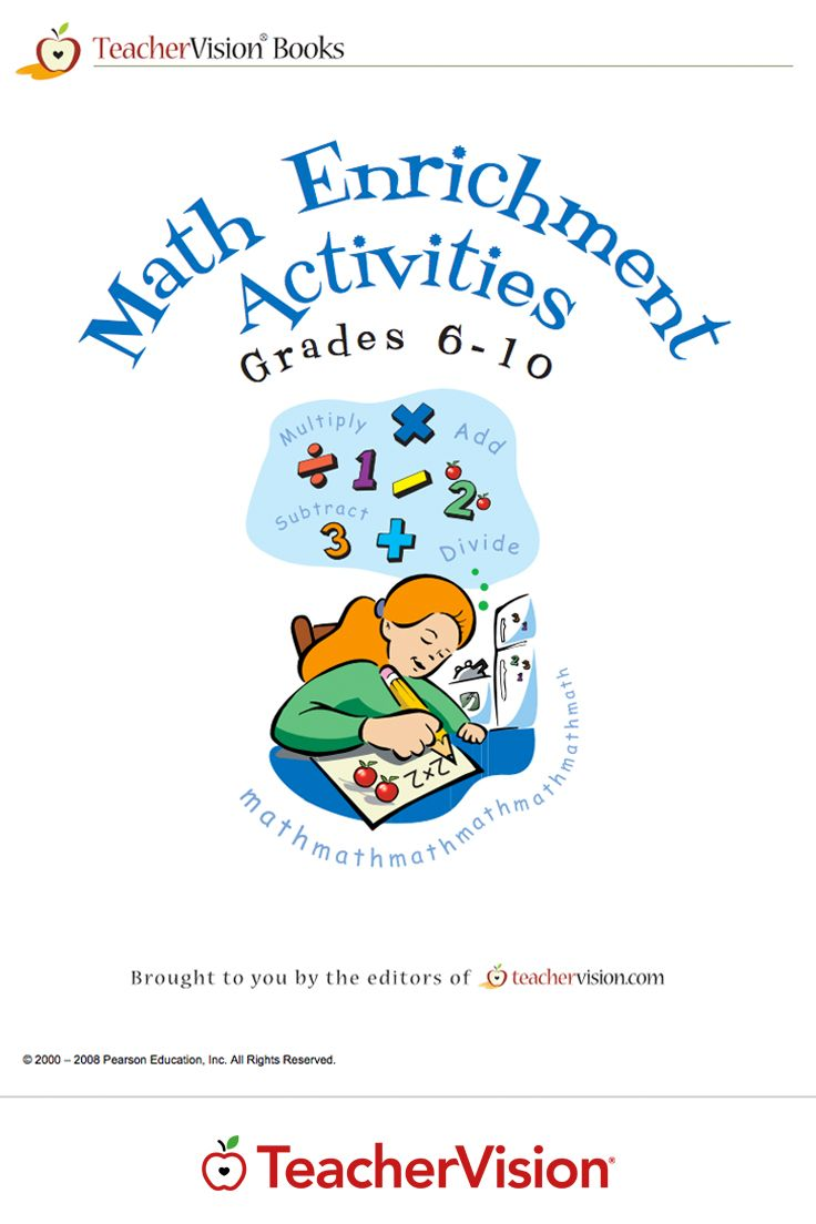 Math Enrichment Activities Printable Book (Grades 6-10): Download a printable teacher resource book that is full of math worksheets for intermediate and secondary students for free when you sign up for TeacherVision's 7-Day Trial! You'll get activities for a wide variety of math subject areas, including geometry, ratios, measurement, probability, and more. Perfect for Mathematics Awareness Month in April.