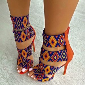 Shoes: pattern, orange, blue, multicolor, heels, high heels, strappy heels, colorful, yellow, african print, african style, colorful shoes, sandal heels, print, tribal pattern, high heel sandals, cute, african cultural, beaded look - Wheretoget