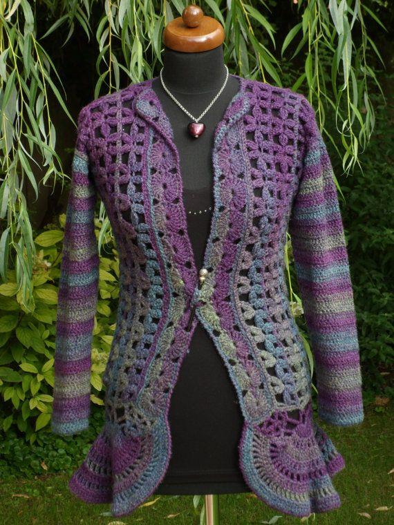 ♣∫ Women's crochet #Jacket or cardigan in rustic streaked yarn, Boho s... Best Deal! http://etsy.me/2hcTt3s