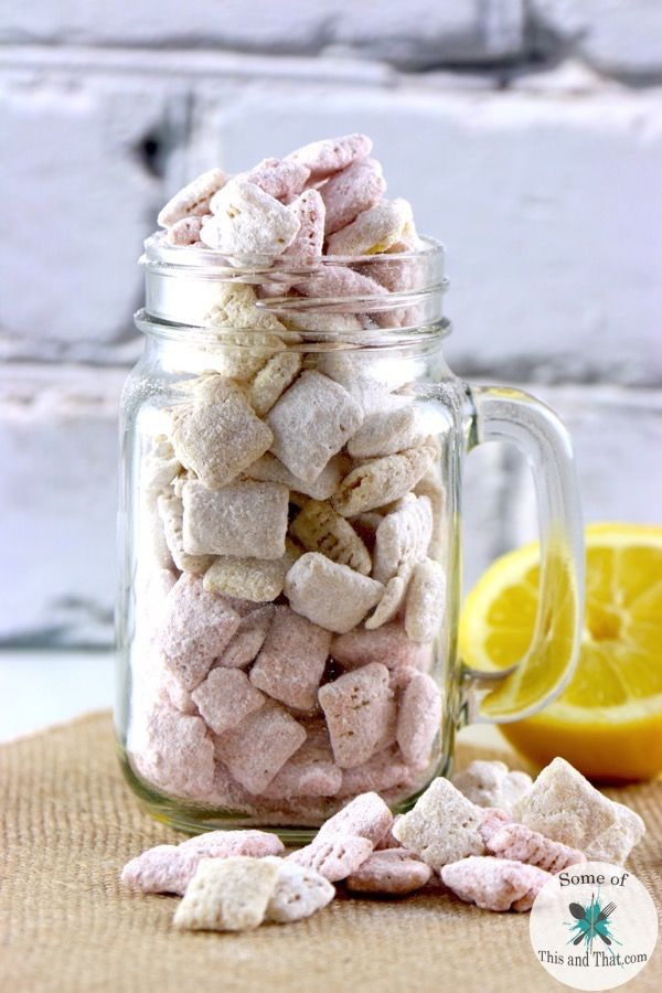These Strawberry Lemonade Muddy Buddies are perfect for summer! They take less than 10 minutes to make and are super yummy!