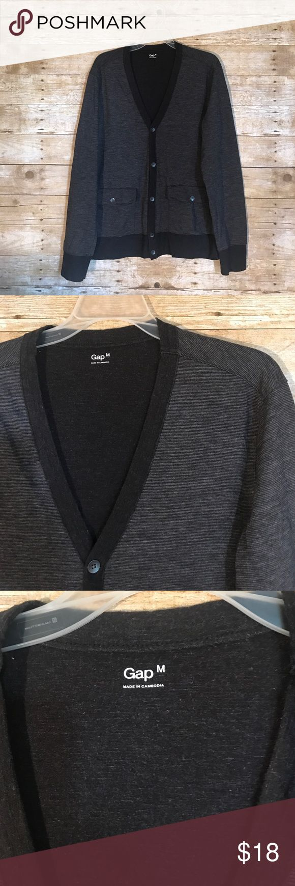 GAP Men's cardigan sweater size M gray/black GAP - Men's sweater cardigan - size M - gray/black striped pattern with brass dark buttons - long sleeve lightweight sweater - dress up or down - ‼️FAST SHIPPING‼️ GAP Sweaters Cardigan