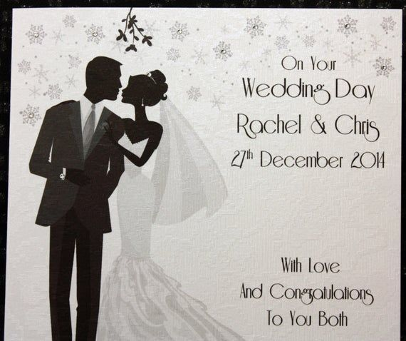 Luxury Winter Wedding Card Bride And Groom About To Kiss Under Mistletoe Featuring Genuin Wedding Cards Winter Wedding Card Winter Wedding