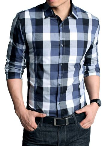 Classic Style Slim Fitted Checked Long Sleeve Shirt For Men Fashion #checkedshirt #mensfashion