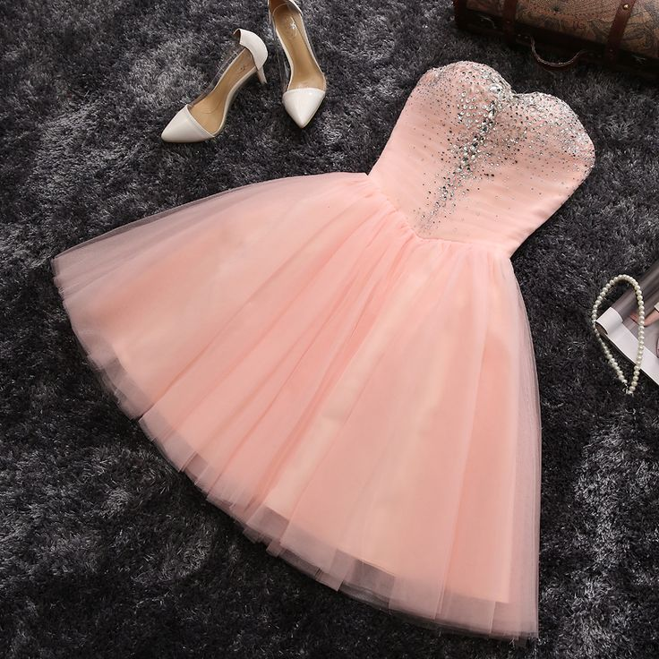 Strapless Sweetheart neck Blush Pink Homecoming Dresses,Short Prom Dresses,APD2424