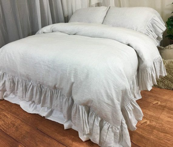 Stone Grey And White Ticking Striped Duvet Cover With Mermaid Long Ruffles In 2021 Ruffle Duvet Duvet Cover Master Bedroom Ruffle Duvet Cover
