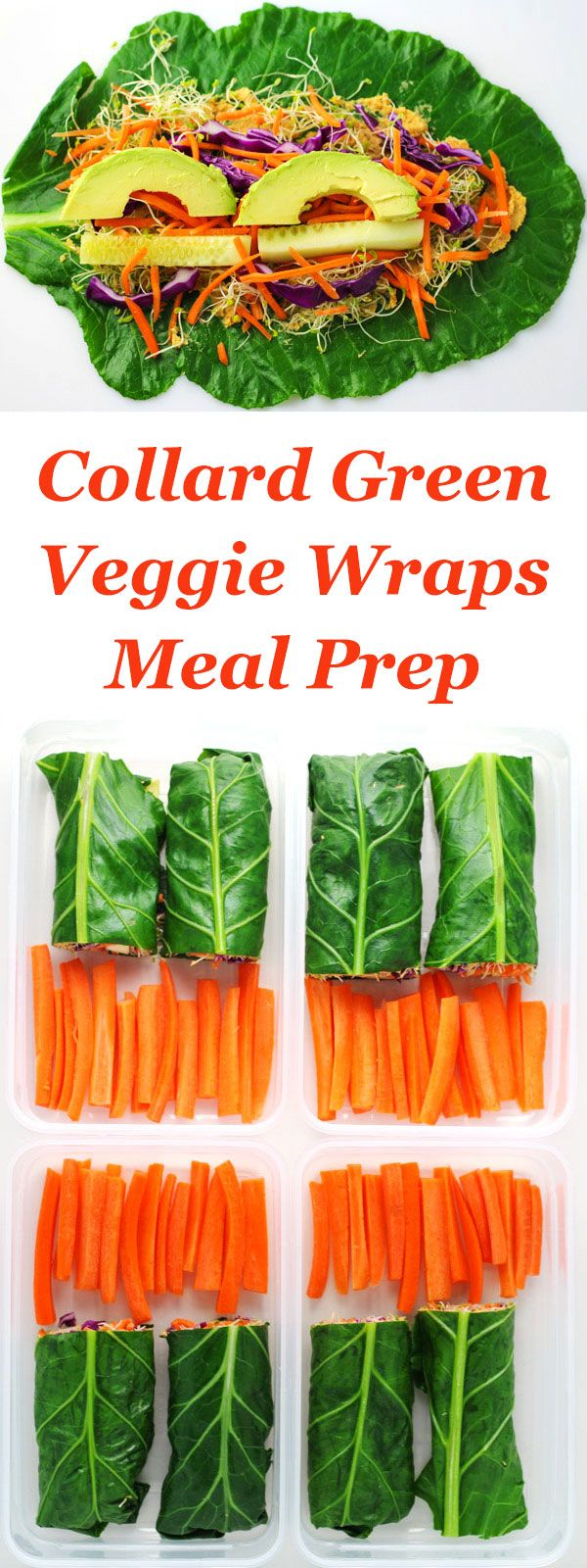 Collard Green Veggie Wraps Meal Prep ~ Make ahead Healthy, Low Carb, Gluten Free lunches for the week!