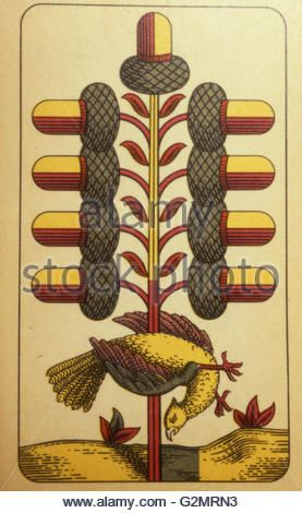Traditional German Salzburg playing card,nine acorns - Stock Ph oto