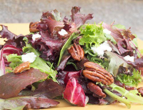 Mesclun Salad with Goat Cheese, Maple-Glazed Pecans & Maple Dijon Vinaigrette