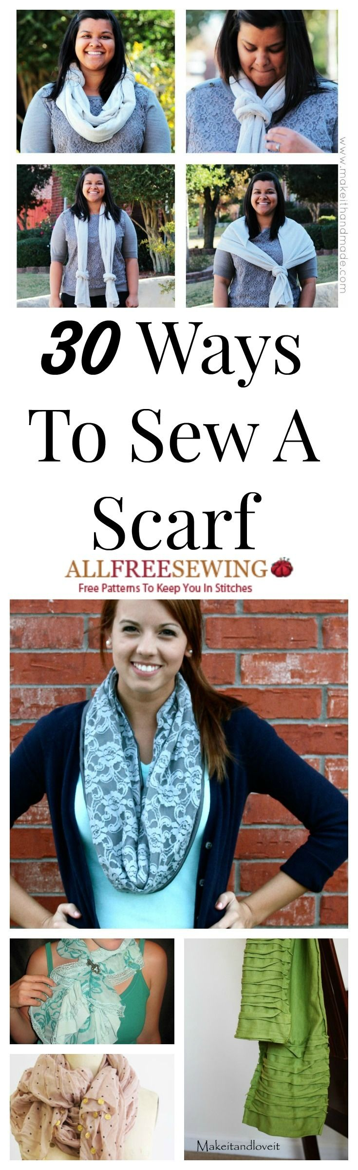 30 Ways to Learn How to Sew a Scarf + Infinity Scarf Patterns | AllFreeSewing.com