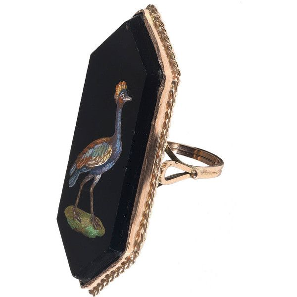 Pre-owned 19th Century Italian Gold Micromosaic Bird Ring ($3,800) ❤ liked on Polyvore featuring jewelry, rings, more rings, hexagon ring, gold rings, womens jewellery, victorian gold ring and antique gold ring