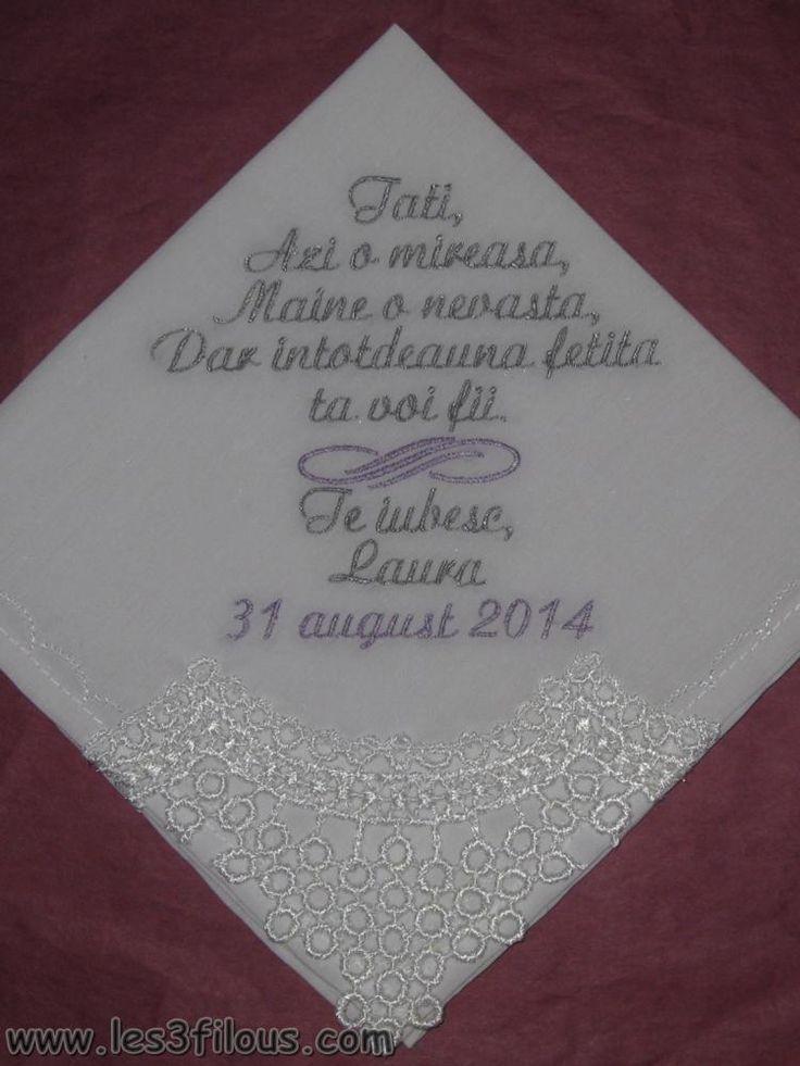 mouchoir brod cadeau souvenir remerciement pour mariage ajout de dentelle texte et couleur au