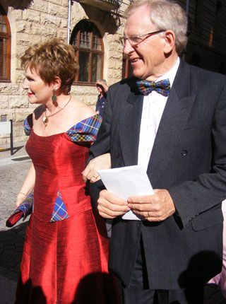 Helen Zille,  premier of Western Cape (South Africa), in one of the designs made by DeVilliers Beukes from DeVilliers Royal Couture.