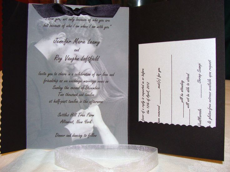 Items Similar To Pocketfold Wedding Invitation With Photograph U0026 Vellum  Overlay   Custom, Ribbon, Black, White, Metallic On Etsy
