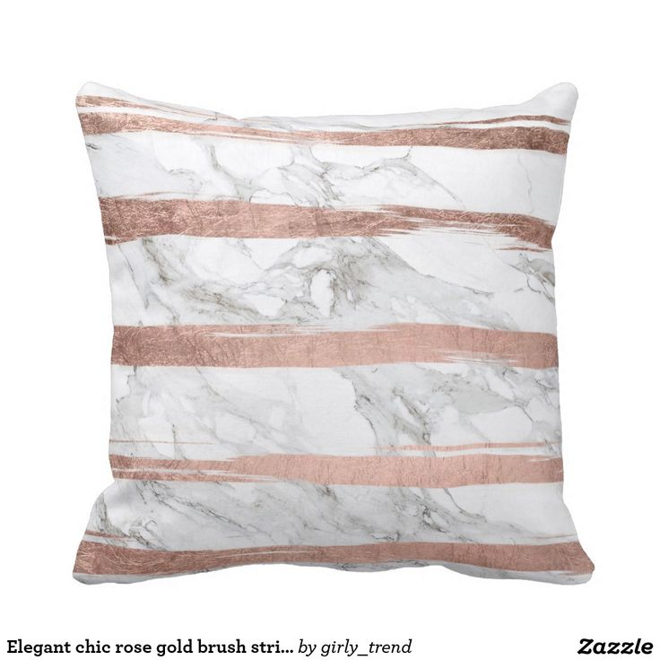 Rose Gold Decorative Pillow : Elegant chic rose gold brush stripes white marble throw pillow Gray, Chic and Throw pillows