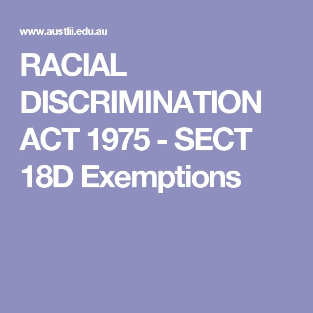 RACIAL DISCRIMINATION ACT 1975 - SECT 18D Exemptions