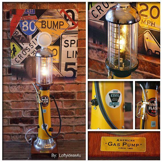 Repurposed Man Cave White Flash Atlantic American Gas Pump