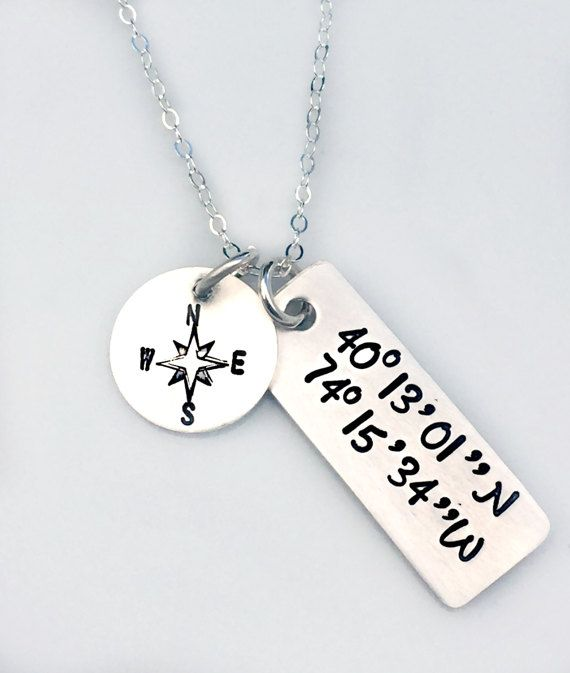 Custom Coordinate Necklace  GPS Location by 3LittlePixiesShoppe