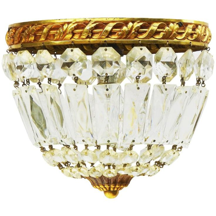 French Crystal Flush Mount Ceiling Light or Pendant, Early 20th Century Louis 1