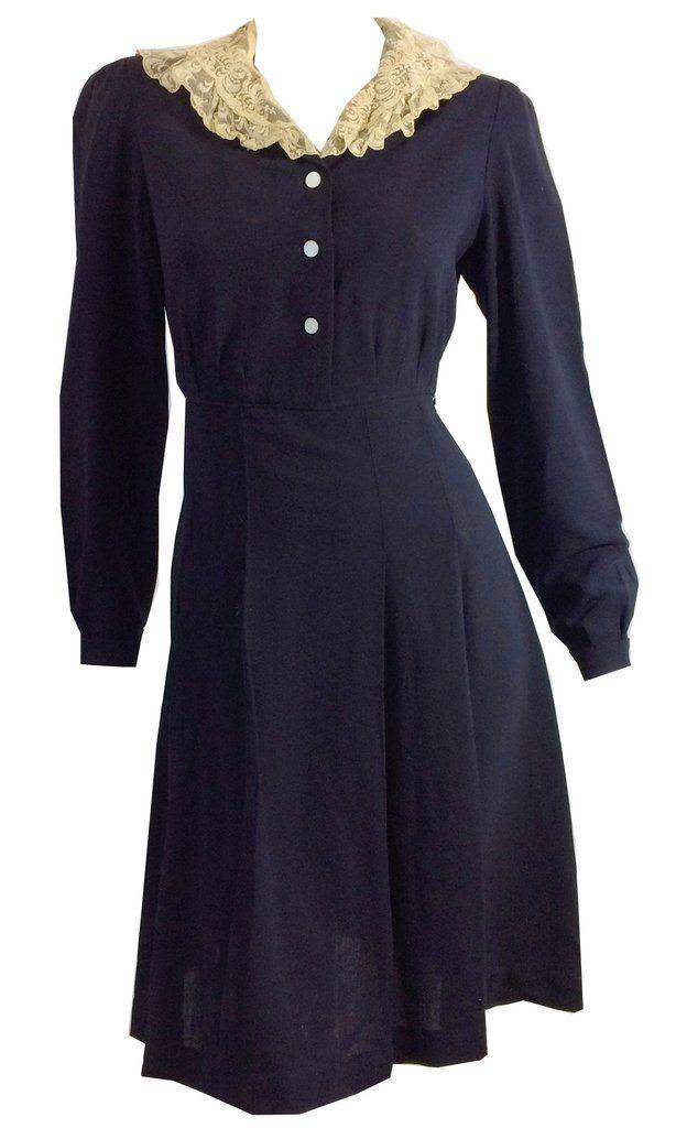 Midnight Blue Crepe Rayon Long Sleeve Dress circa 1940s