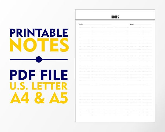 Notes Single Page A4 A5 and U.S. Letter Downloadable by vecprin