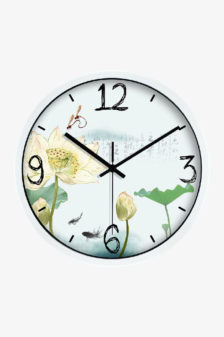 Art Wall Clock Painting Floral Clock In White