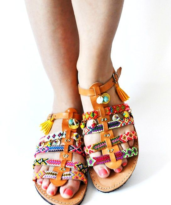 High quality handmade Greek multicolored women sandals with many coloured elements in each strap.