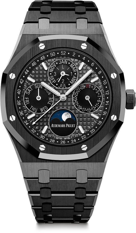 La Cote des Montres : La montre Audemars Piguet Royal Oak Quantième Perpétuel - Céramique noire et finitions manuelles