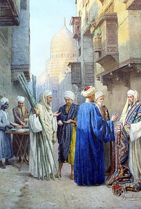 Sunset in Cairo  by Federico ( Filippo ) Bartolini (Italian 1861-1908)  watercolor on paper