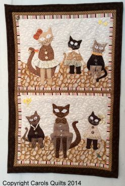 Gorgeous brown cats and kittens using the Cat Template from Carols Quilts and the pattern included with the template