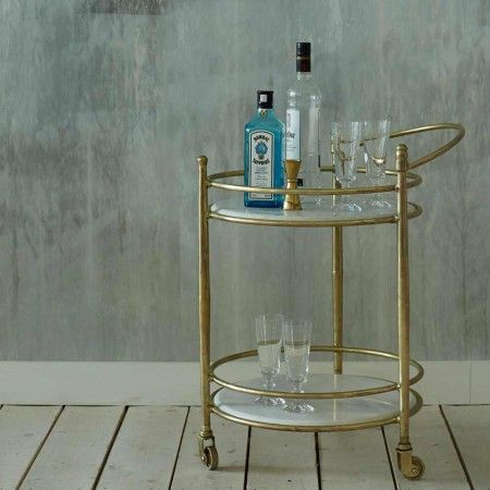 Round Drinks Trolley with Marble Shelves - Side Tables - Tables - Furniture
