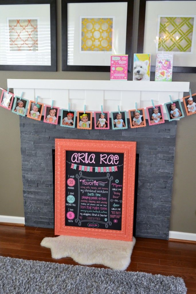 Project Nursery - 1st Birthday Chalkboard & Month-by-Month Picture Timeline