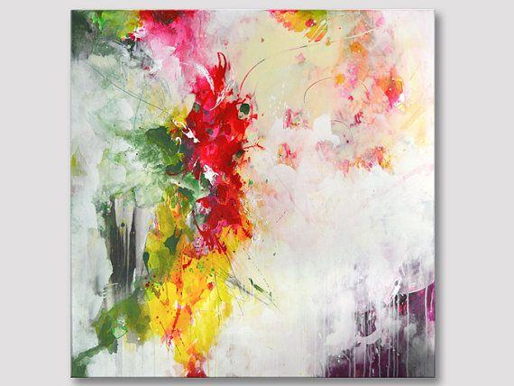 Extra große abstrakte quadratischen Originalgemälde, moderne Kunst, Farben, Acryl auf Keilrahmen, rosa rot olivgrün Kunstwerk Fett