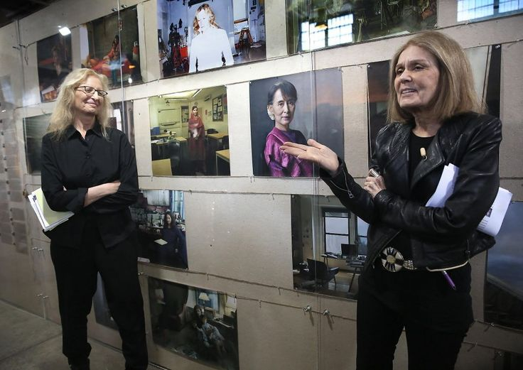 "Annie Leibovitz (left) talks about her new photography exhibition with Gloria Steinem, whose portrait also appears in ""Women: New Portraits,"" at Crissy Field in San Francisco. Photo: Liz Hafalia, The Chronicle"