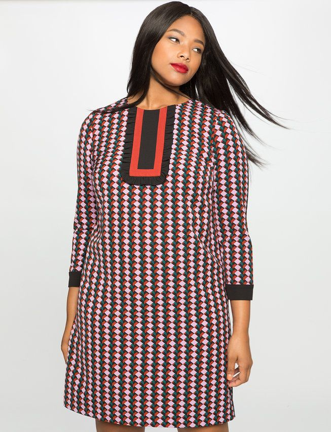 Plus Size Printed Bib Long Sleeve Dress from Eloquii