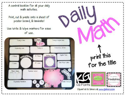 Daily Math Wall {Free} Printable :)