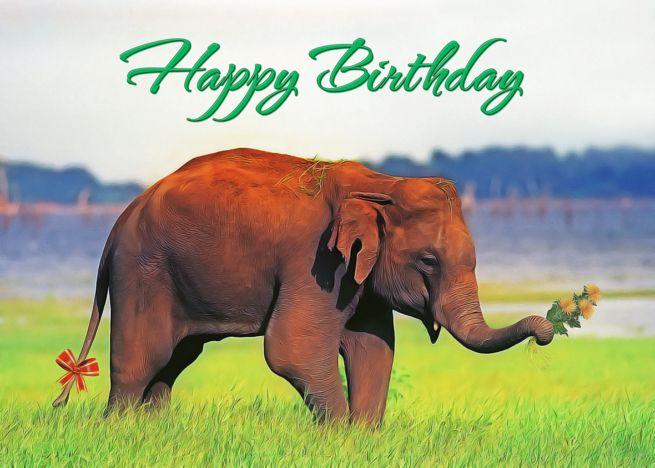 Happy Birthday Elephant With Flowers Card Ad Ad Birthday Happy Elephant Card Happy Birthday Me Elephant Happy Birthday