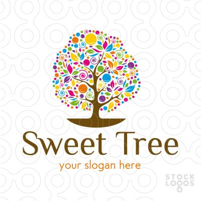 A whimsical abstract tree, full of colours and various shapes. Logo can be used for photography studio, gift store, day care, preschool, school, kindergarten, home decor store, boutique, kids' clothing apparel, wedding planner, garden center, event planner or a store with sweets & candies.