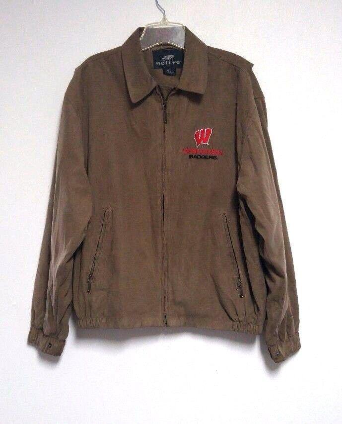 Wisconsin Badgers Jacket Coat Brown Active Spring Men's M Medium Embroidered #Active #CoatsJackets