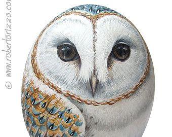 Original Hand Painted Tawny Owl Rock by RobertoRizzoArt on Etsy